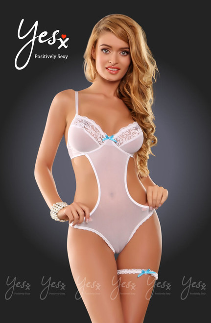 YesX  Bridal Lace Teddy White Blue Front CBG