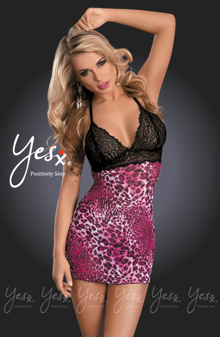 Yesx Mesh Chemise Lace Rose Leopard Front CBG