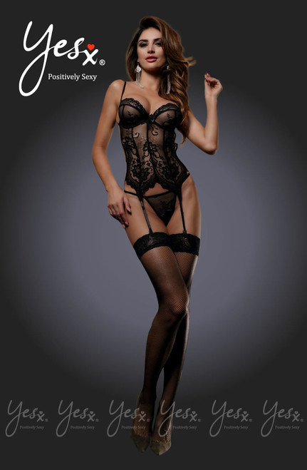 YesX Steaming Black Lace Corset Set  YX808 Front CBG