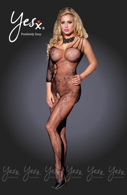 YesX Sleeve Crotchless Body Stocking Black Front CBG