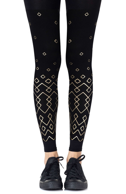 Zohara Diamonds Are Forever Black Footless Tights