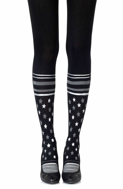 Zohara Sock It To Me Grey Silver Print Tights1