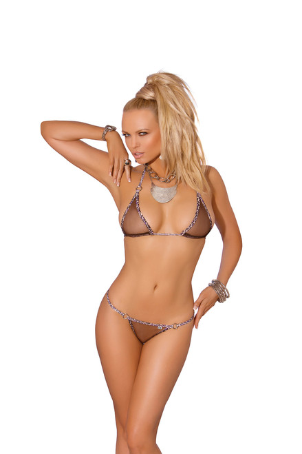 Mesh bikini top and matching g-string with animal trim.