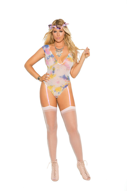 Deep V opaque teddy with adjustable garters and thong back.