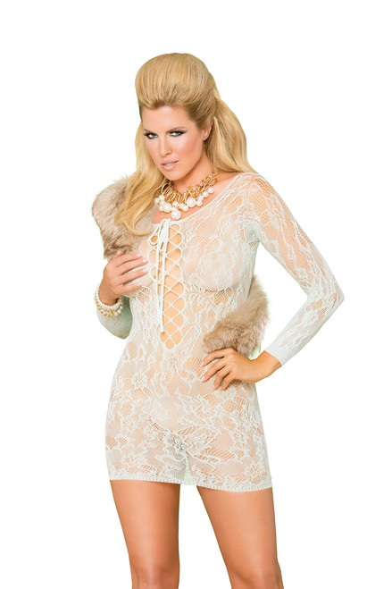 Long sleeve lace mini dress with lace up front.