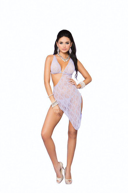 Lace asymmetrical gown and matching g-string.