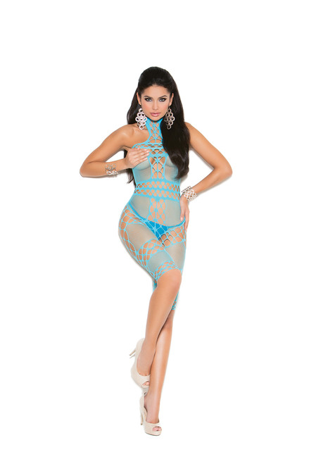Crochet and fishnet halter neck, mid length bodystocking with open crotch.