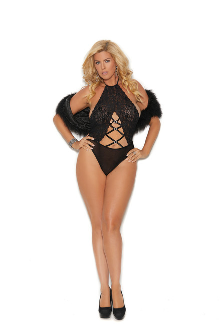 Lace and opaque halter neck teddy with criss cross detail.
