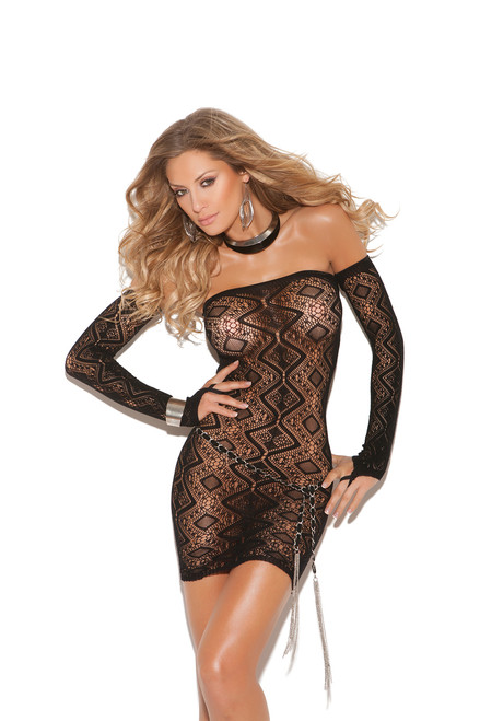 Diamond pattern bandeau dress with open back and matching gloves.