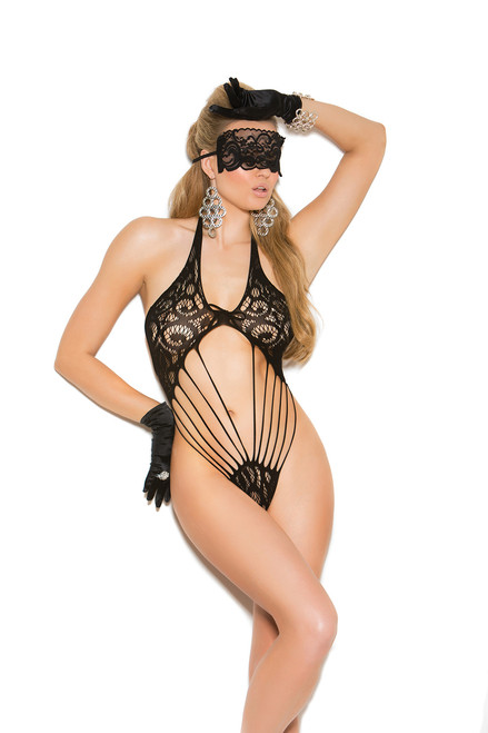 Lace teddy and matching eye mask.