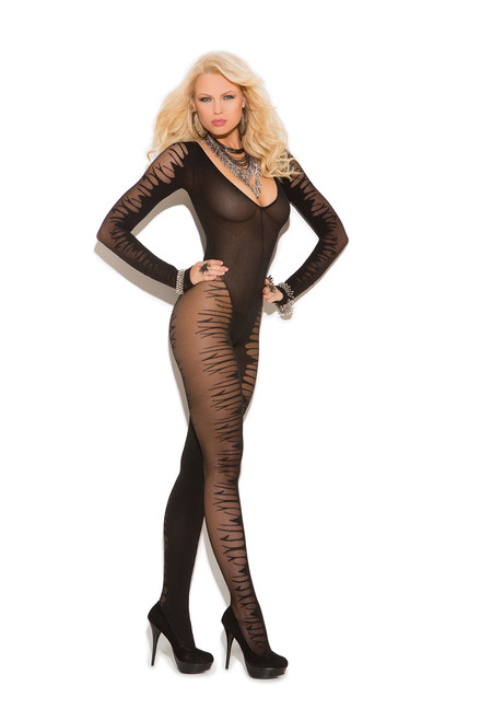 Long sleeve sheer jacquard bodystocking with open crotch.