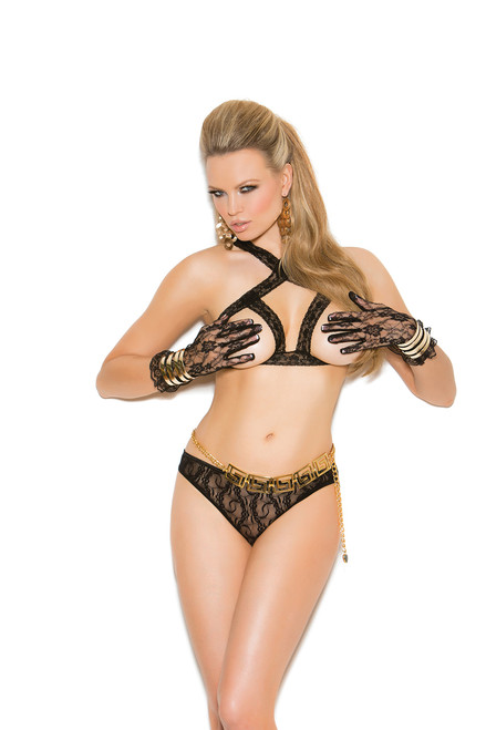 Lace cupless bra and matching panty with open back.