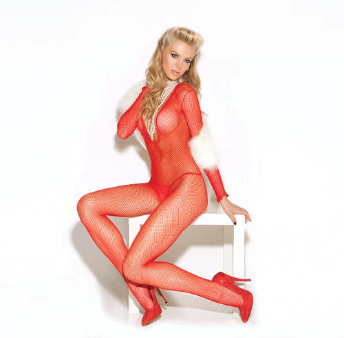 Long Sleeve Deep V Fishnet Bodystocking With Open Crotch. Red Sitting