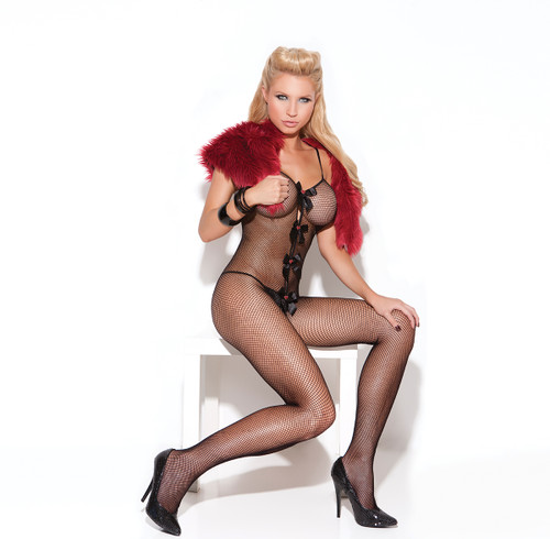 Fishnet bodystocking with open crotch, satin bows and heart appliques.