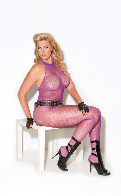 Fishnet halter bodystocking with open crotch.