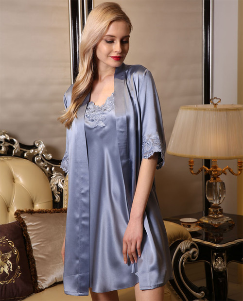 100% Pure 19MM Silk Slip Robe Set Gray