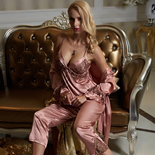 Sexy Long-Sleeve Satin  Pyjama