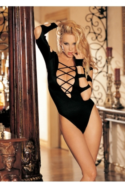 Sexy Stretch knit Bodysuit Long Sleeve Cut-out Thong