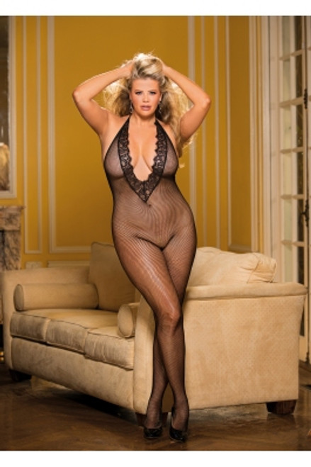 Fishnet  And Eyelash Bodystocking 1