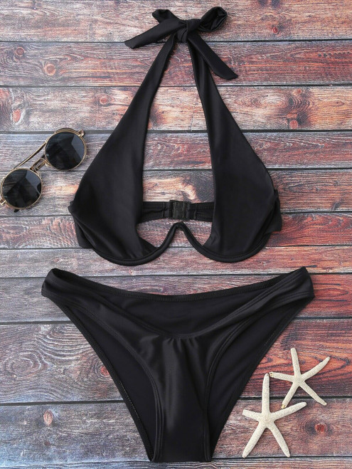 High Cut Halter Bikini Set
