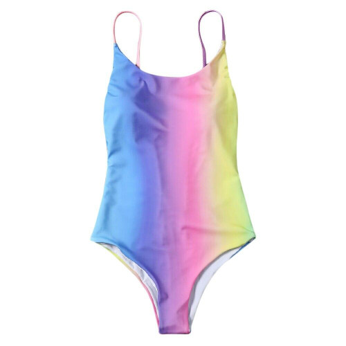 Colorful Backless Ombre Swimwear