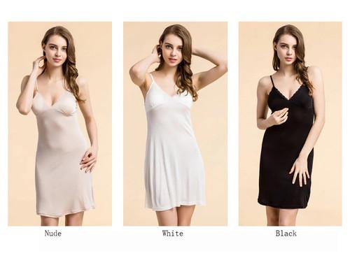 Nude, White & Black Silk Slip Dress