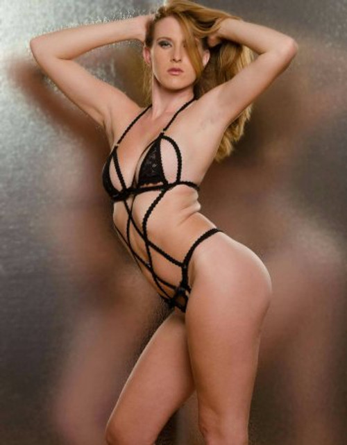 Play Suit Lingerie Teddy Body with Black Floral Lace Front