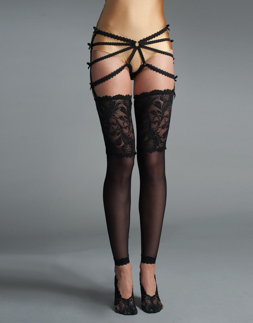 Thigh Highs With Lace Top and Lace Sock Part Front