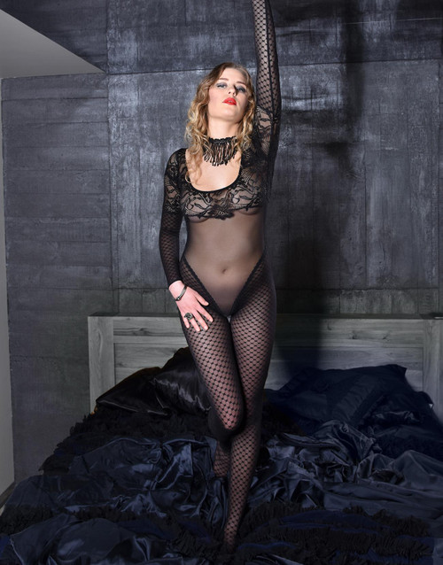 Accentuate Your Curves Lace Bodystocking Front