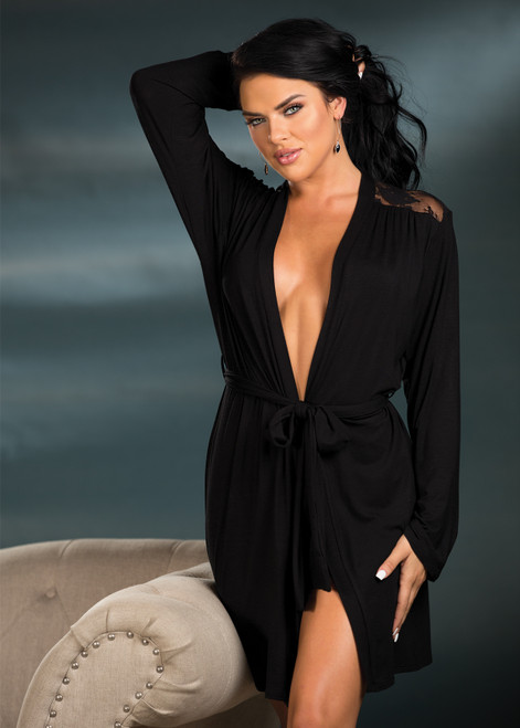 Soft ROBE Knit and Stretch Lace Black