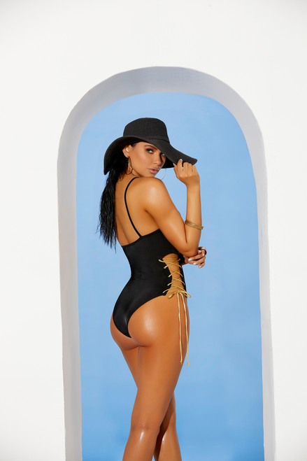 Lycra monokini with lace up detail Side