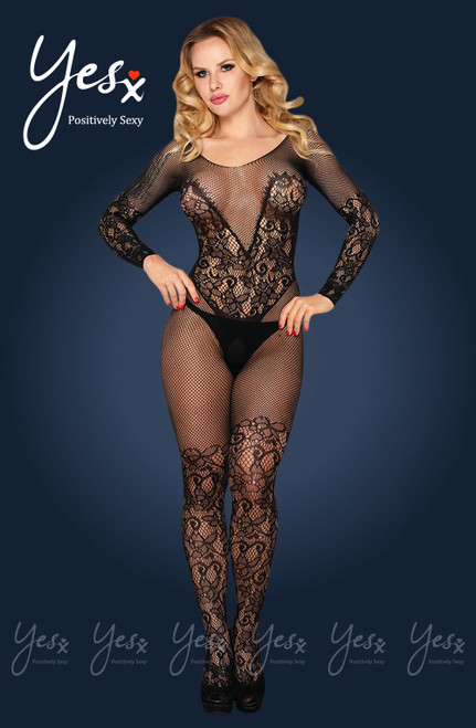 YESX Fishnet Crotchless Bodystocking Front