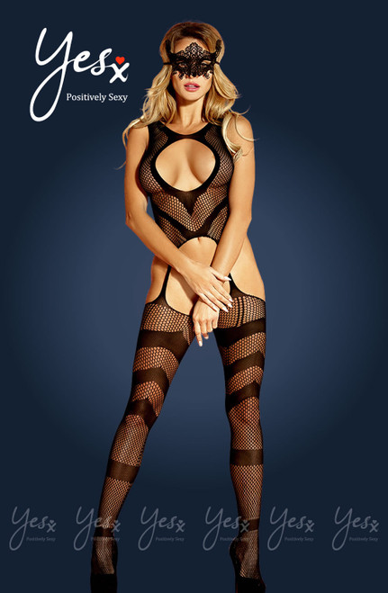 Sexy Mesh Bodystocking Black with Mask Front