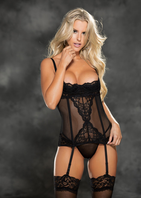 Shelf Cup Bustier Stretch Lace Mesh