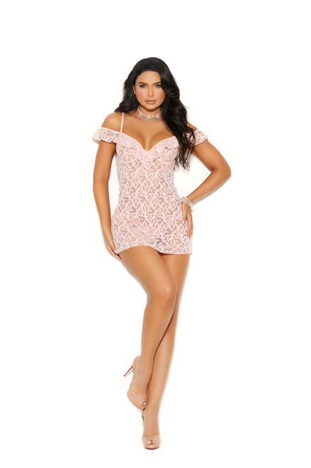 Baby Pink Babydoll Deep V Lace