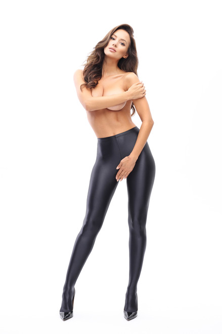 Glossy Opaque Open Crotch Pantyhose Black Front
