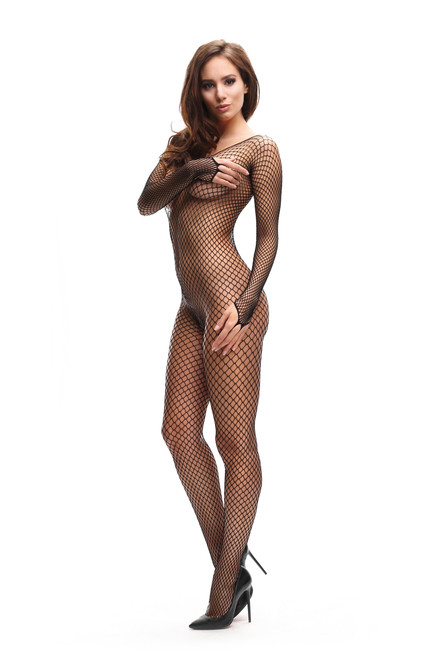 Fishnet Open Crotch Bodystocking Front