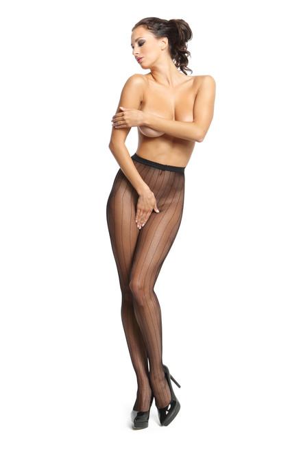 Fishnet Open Crotch Pantyhose Black Front