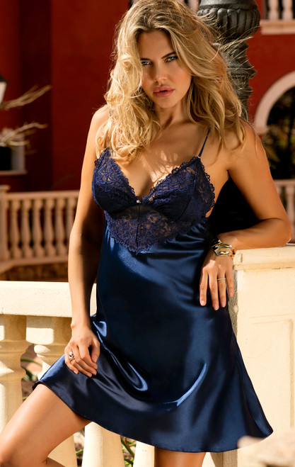 Satin Petticoat Alice Navy Blue Front Close Up
