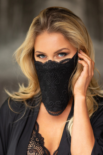 Lace Masks For Special Occassions Black Front