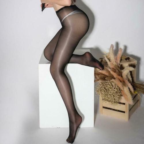 Glossy Open Crotch Pantyhose Black