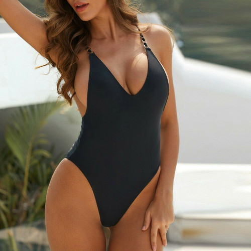 Sexy High Cut Backless One Piece Swimsuit Front Close Up