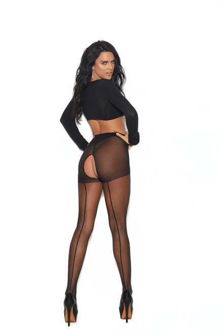 Sheer Crotchless Pantyhose With Backseam