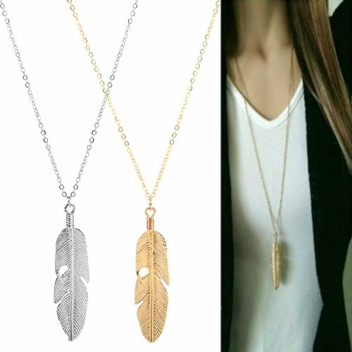 Classy Feather Pendant Necklace 1