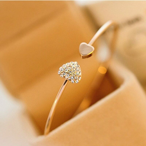 Crystal Heart Bow Cuff Bracelet 1