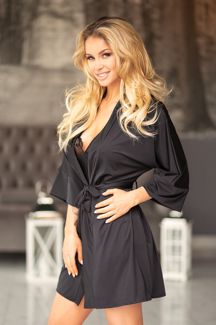 Samui Black Dressing Gown Microfibre Front Side