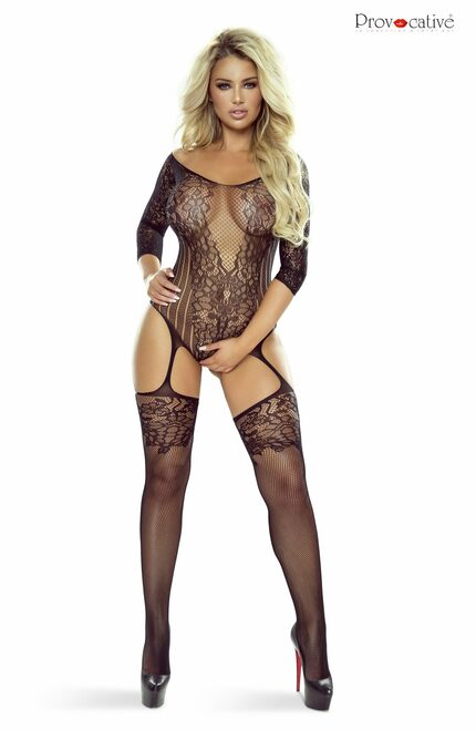 Floral Motif Bodystocking Open Black 1