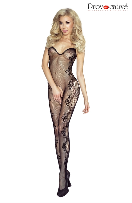 Floral Embroidery Bodystocking Open Black 1