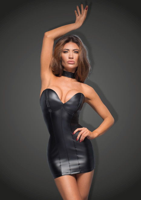Power Wetlook Mini-Dress W/ Eco-leather Cups Front