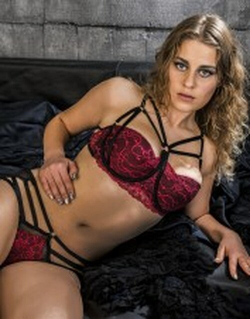 Strappy Red Lace Black Mesh Brief Panties 1